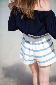 Striped shorts.