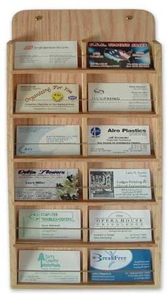 Oak Wood Wall Mount Business Card Holder/Rack 12 pocket vertical