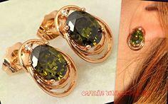 Gold+Stud+EARRINGS+with+PERIDOT+&+Diamonds+from+CamelysUnikatBijoux+by+DaWanda.com
