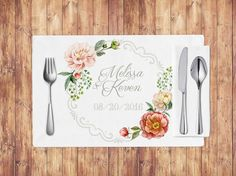 Embellish inexpensively your wedding tables by printing your own vintage placemats. The beautiful flowers surrounding your names and the wedding
