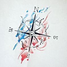 Esperando o dono... #tattoolife #watercolor #compass #rosadosventos #aquarela…