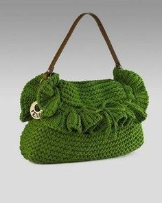 Green crochet bag.