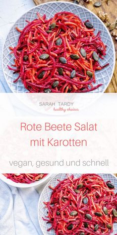 Rote Beete – Karotten – Salat – sarah tardy This is one of my favorite salads from autumn – it is quick to make, stays in the fridge for 3 days and children love to eat it. Beetroot has an antioxidant effect and supports your immune system. Detox Recipes, Salad Recipes, Vegan Recipes, Beetroot And Carrot Salad, Nutella, Detox Salad, Vegan Snacks, Healthy Salads, Healthy Drinks