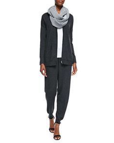 Hooded+Zip-Front+Cardigan,+Slim+Tank,+Chevron+Jacquard+Infinity+Scarf+&+Slouchy+Drawstring-Waist+Ankle+Pants++by+Eileen+Fisher+at+Neiman+Marcus.