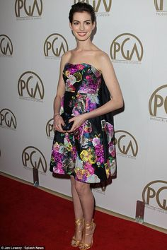 Anne Hathaway has a rare fashion misstep with garish floral frock at Producers Guild Awards: Anne Hathaway attended the 24th Annual Producers Guild Awards