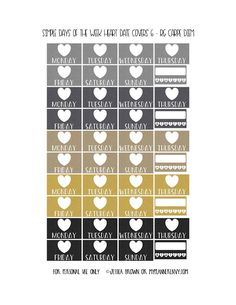 Free Printable Simple Days of the Week Heart Date Covers for the Reset Girl Carpe Diem Inserts Page 6 of 7 from myplannerenvy.com. Also available with a Circle instead of a Heart.