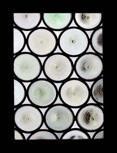 STUNNING FRENCH RONDELS ANTIQUE STAINED GLASS WINDOW