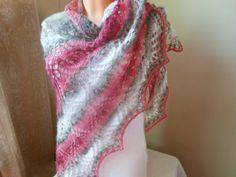 Lace shawl mohair yarn coral grey white hand by MyKnitCroch, $49.00