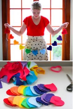 This felt garland is precious and so easy – we love the rainbow! Valentine Home Decor Ideas on Frugal Coupon Living.