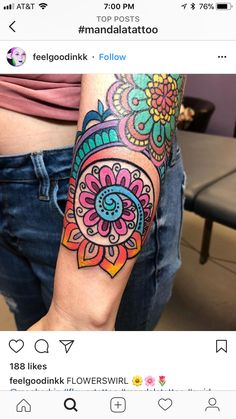Color for my mandala – Tattoo World Funny Tattoos, Time Tattoos, Tattoo You, Leg Tattoos, Arm Tattoo, Body Art Tattoos, Tatoos, Sweet Tattoos, Pretty Tattoos