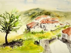 Original watercolor of a village in Portugal, Original painting of houses in Portugal, portuguese village watercolour by MartineSaintEllier on Etsy https://www.etsy.com/listing/384625708/original-watercolor-of-a-village-in