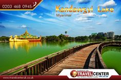 Kandawgyi Lake, #Myanmar: is one of two major #lakes in Yangon, #Burma (Myanmar). Located east of the Shwedagon #Pagoda, the lake is artificial; water from Inya Lake is channelled through a series of pipes to Kandawgyi Lake. |   Source: https://en.wikipedia.org/wiki/Kandawgyi_Lake |   #KandawgyiLake #LakesofBurma #Yangon #ParksinMyanmar #travel #TravelCenterUK #tcuk #AiraresMarketLeader |   #cheapflights from #uk: http://www.travelcenteruk.co.uk/ |   call an expert now: 0203 468 0945