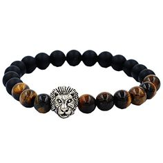 Susenstone Lion Elastic Beaded Bracelet Tibet Charm Bracelets * Details can be found by clicking on the image.