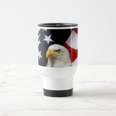American Flag Eagle 5 Patriotic Travel Mugs  $27.50  by designsbydbc  - cyo diy customize personalize unique