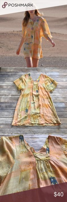 """Anthropologie silk tunic dress Maeve Painted Ume tunic from Anthropologie in EUC. 100% silk and measures 32"""" in length, no holes or stains. Make an offer or bundle and save! Anthropologie Tops Tunics"""