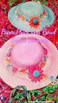 Paper plate and bowl Easter bonnet craft. Cute and fun, wearble craft.