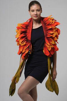 courtesty of nuno felting artist Jenne Giles, San Francisco Jeanne Lanvin, Urban Fashion, Fashion Art, Sewing Scarves, Flower Costume, Orange Scarf, Felted Slippers, Felting Tutorials, Felt Fabric