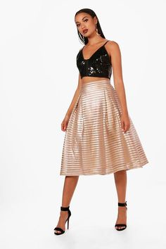 Nova Metallic Full Midi Skirt