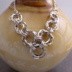 Crystal necklace with sterling silver twisted rings grey chainmaille  CanterburyvinesStudios