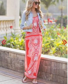 Perfection! Orange and white geometric maxi. Jean jacket. Spring 2016 STITCH FIX