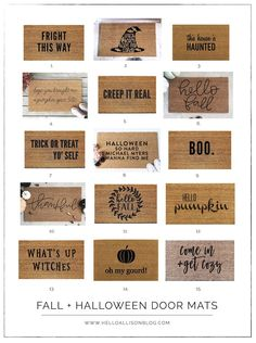 Sharing my top favorite fall + halloween doormats. We also did a little update to our front porch for the season and I'm sharing a DIY tutorial. Halloween Door, Fall Halloween, Halloween Crafts, Fall Doormat, Diy Gifts For Friends, Cricut Creations, Welcome Mats, Vinyl Crafts, Diy Christmas Gifts