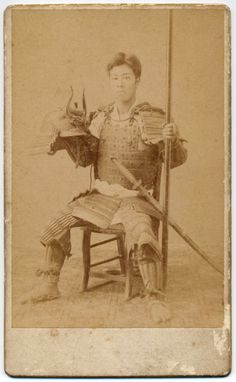 pa091 1893 Japan Old Photo Japanese Samurai in Armor with Spear / Helmet Sword