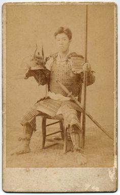 pa091 1893 Japan Old Photo Japanese Samurai in Armor with Spear / Helmet Sword