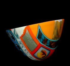 "Doug Randall ""Hometown Shuffle"" Item #130901 kiln-formed glass 8""h x 14""dia $3,900"