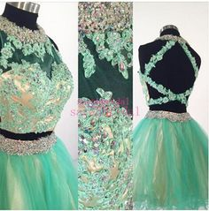 2015 Short Homecoming Dresses For 8th Grade Two Piece Crop Top Graduation Sale Cheap Mint And Nude Rhinestone Tulle Ball Prom Party Gowns Online with $91.22/Piece on Sarahbridal's Store | DHgate.com