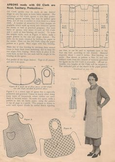 FREE apron patterns - lots of other wonderful vintage sewing and knitting patterns on this website - click to the image to go there! #vintage #sewing
