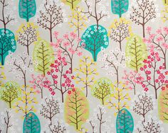 Contemporary Scandinavian Fabric from Spira of Sweden - Haga Green - Pretty Trees on beige backdrop (21.00 GBP) by OurGreenRoomDesign