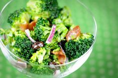 Broccoli Salad           Salad:   2 bunches of broccoli   10 slices bacon (cooked and crumbled)   2/3 cup raisins   1/4 - 1/3 cup purple onion, chopped     Dressing:   1 cup mayonnaise   1/2 cup sugar   2 T. red wine vinegar     Wash and cut broccoli into bite-sized pieces. Combine broccoli, bacon, raisins, and onion in a large bowl.     In a separate bowl, mix mayonnaise, sugar, and vinegar. Pour over salad and toss.     Refrigerate at least 2 hours before serving, tossing occasionally…