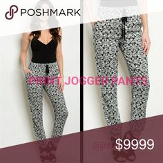 COMING SOON Black and White Elephant print jogger pants. Ties at waist. More details to come!   Sizes available: S M l  LIKE TO BE NOTIFIED OR COMMENT BELOW Pants Track Pants & Joggers