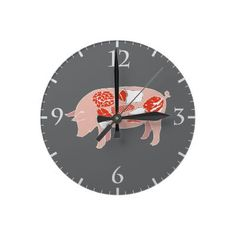 Pork Meat Cuts Wallclocks - It's pork time.  Know you meat cuts, great wall clock design for kitchens, man caves, chef, cooks, butchers, foodies ... great unique gift.