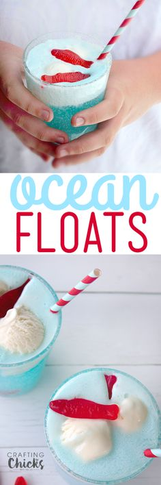 Floats - a Fun Summer drink! Fruity juice, lemon soda and ice cream are all you need to make our fizzy, festive and fun Ocean Floats!Fruity juice, lemon soda and ice cream are all you need to make our fizzy, festive and fun Ocean Floats! Kid Drinks, Non Alcoholic Drinks, Summer Drinks, Cocktails, Summer Fun, Summer Pool, Drinks Alcohol, Refreshing Drinks, Diy Spring