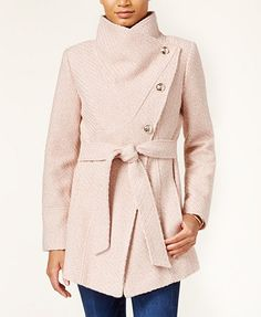 COLOUR- TWEED OR GREY BRAIDED OR PINK BRAIDED- SIZE MEDIUM Jessica Simpson Asymmetrical Button-Front Wrap Coat   macys.com
