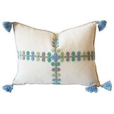 Pre-Owned Phoebe Blue Raised Dot Pillow ($215) ❤ liked on Polyvore featuring home, home decor, throw pillows, blue toss pillows, polka dot home decor, blue home accessories, polka dot throw pillow and blue accent pillows