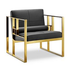 The Westgate Lounge Chair has a futuristic look that can bring some modern style to any living room. With a chic faux leather seat and polished gold legs, the Westgate is a stunner.Dimensions: 28.25
