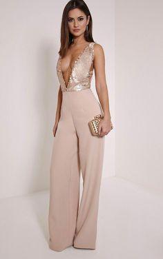 After prom outfit. A little fancy but cute. Darcey Rose Gold Sequin Plunge Cross Back Jumpsuit Image 4 Jumpsuit Damen Elegant, Formal Jumpsuit, Sequin Jumpsuit, Rose Gold Jumpsuit, Prom Jumpsuit, Jumpsuit Outfit, Classy Outfits, Cute Outfits, Fall Outfits