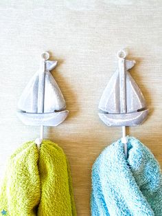 Nautical Wooden Shabby Grey Sailboat Hooks/ Pool towel Hangers/ Beach House Wall Decor/ Set of 2 on Etsy, $14.00   18inch clearance in bathroom