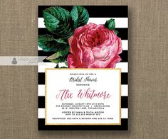Pink Rose Bridal Shower Invitation Black & White Stripes Gold Metallic Modern Script Vintage Botanical Classic Printable or Printed- Alix