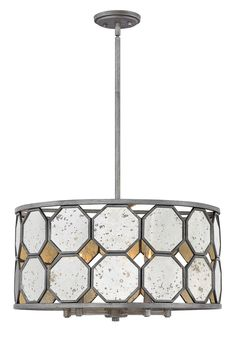 Stunning octagonal panes of antique mirror glass are the striking centerpiece of Lara's stem hung transitional design. The hand painted Brushed Silver finish radiates with lustrous undertones, adding dimension and vintage elegance. Brushed Silver, Glass Shades, Drum Pendant, Hinkley Lighting, Industrial Pendant, Ceiling Fan With Light, Glass Mirror, Pendant Light Fixtures, Drum Chandelier