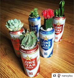 Lone Star beer can planters