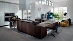 Liberamente kuchyně spojená s obývacím pokojem. Bytový design. / multifunctional living space (kitchen with living room)