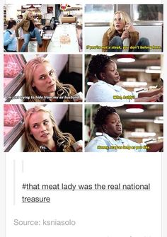 """""""That meat lady was the real national treasure"""" haha Ft Tumblr, Tumblr Funny, Dc Memes, Funny Memes, Videos Funny, Funny Cute, Hilarious, Haha, National Treasure"""