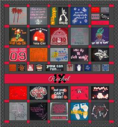 t shirt quilt layout - like the name on the quilt. Could do grad year too.
