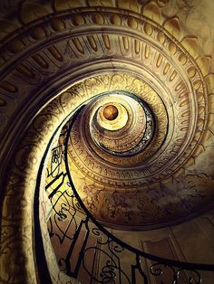 visitheworld:  The amazing spiral staircase of Melk Abbey, Austria (by red R).