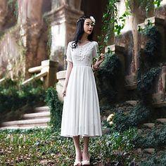 Women's Vintage / Lace Solid / Lace A Line / Swing Dress , Round Neck Midi Chiffon / Lace 3784245 2016 – $27.99