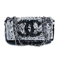86160adb2ba5e4 The Chanel Limited Edition Hidden Flap Handbag Silver Black Sequin & Leather  Shoulder Bag is a top 10 member favorite on Tradesy.