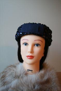 1960's navy straw pillbox hat